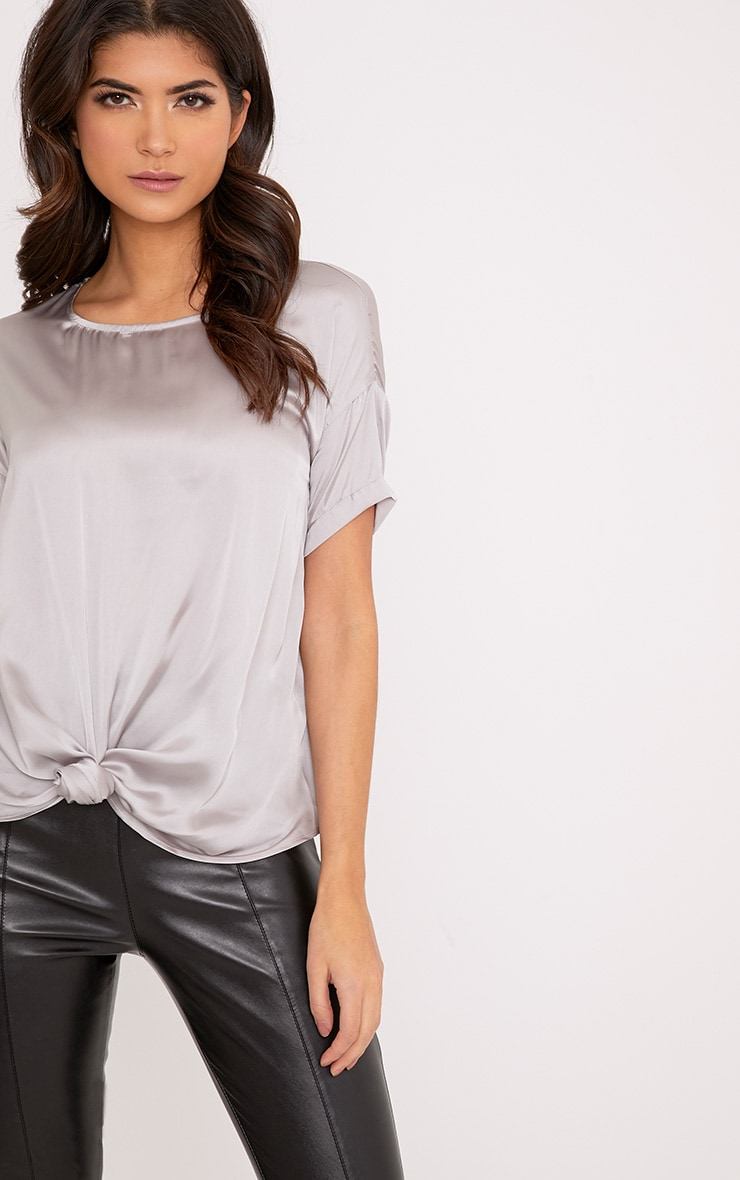 Daisy Silver Grey Satin Knot Front T-Shirt  1