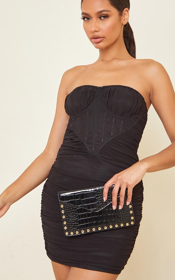 Black Patent Croc Gold Studded Envelope Clutch Bag 1