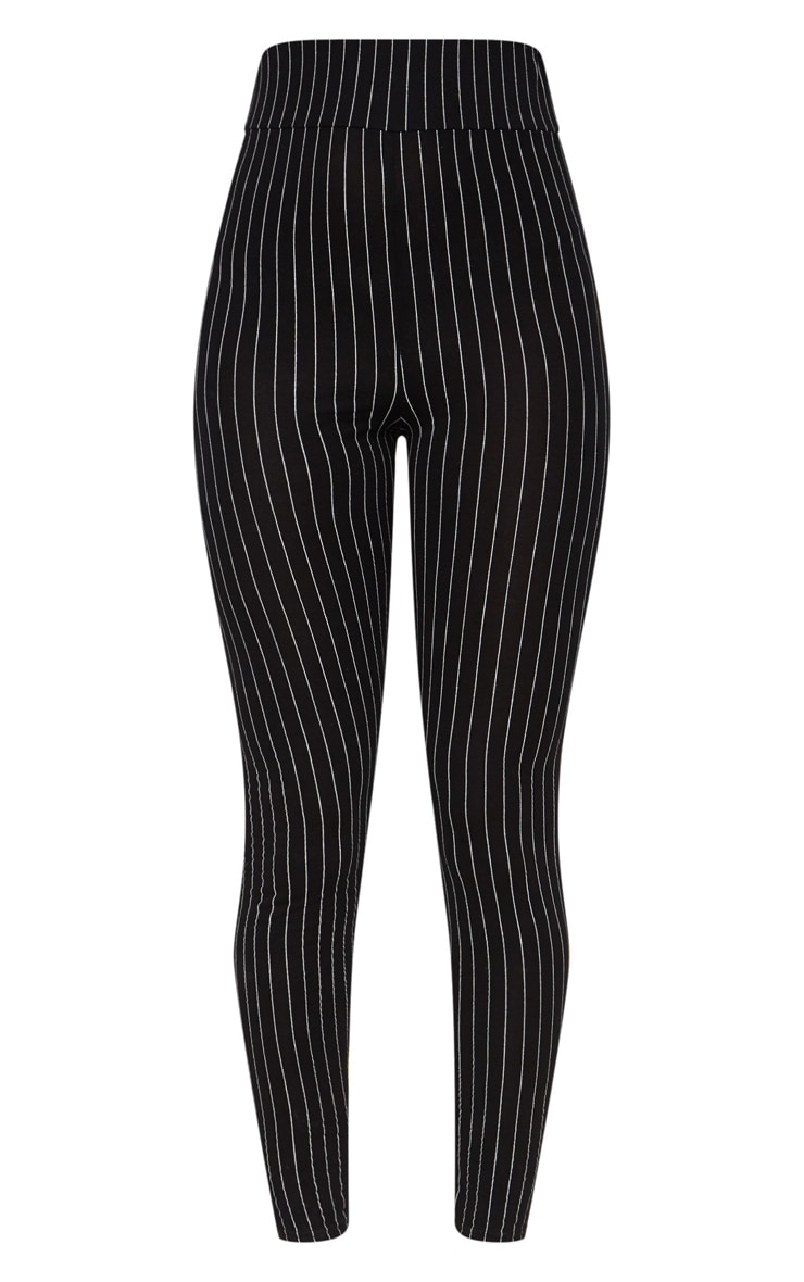 Black Pinstripe High Waisted Leggings 3