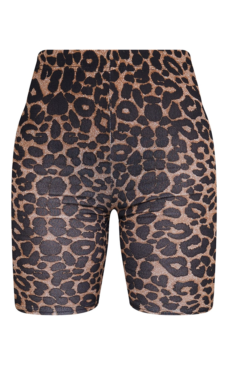 Brown Leopard Print Bike Short 6