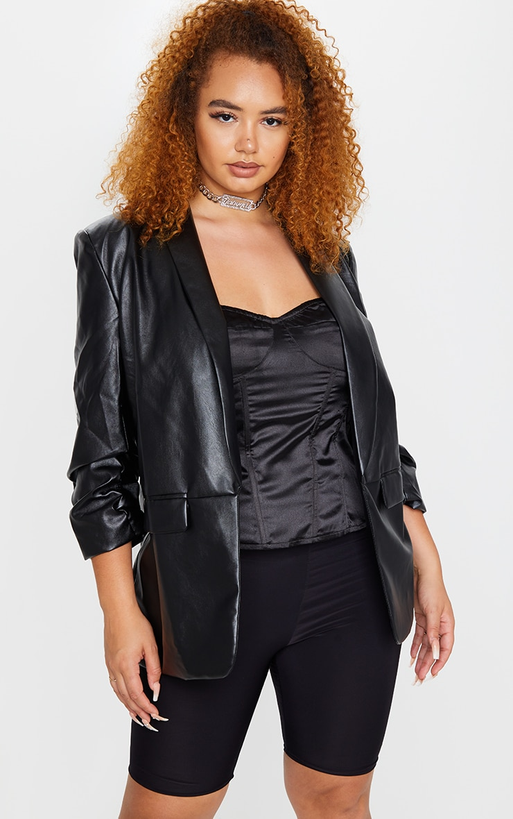 Plus Black PU Lapel Long Line Ruched Sleeve Blazer 1