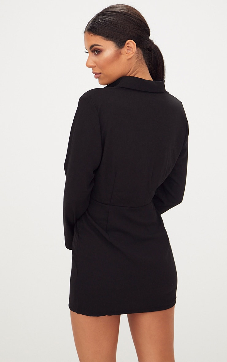Black Frill Detail Long Sleeve Shirt Bodycon Dress 2