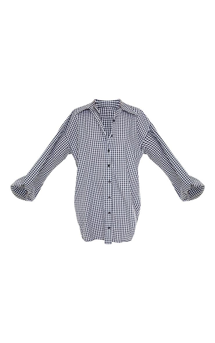 Black Gingham Button Down Balloon Sleeve Drop Hem Shirt Dress 5