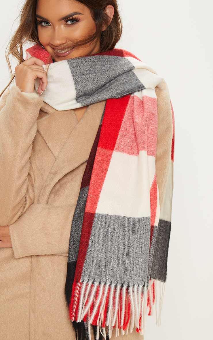 Tan And Grey Large Check Blanket Scarf