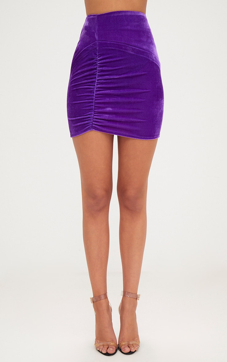 Purple Velvet Ruched Split Mini Skirt  2