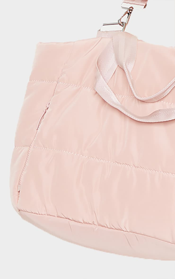 Pink Oversized Quilted Tote Bag 4