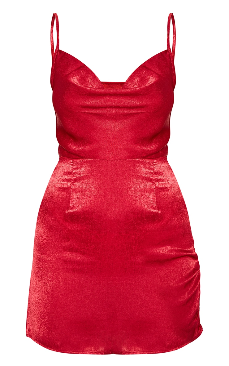 Scarlet Hammered Satin Cowl Ruched Split Bodycon Dress 3