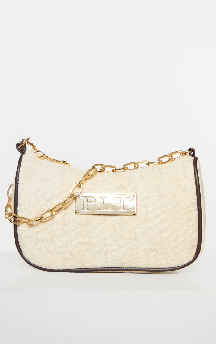 PRETTYLITTLETHING Cream Embossed Gold Chain Shoulder Bag 2