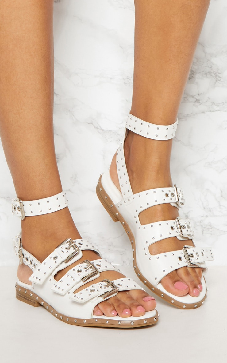 White Studded Buckle Sandal 2