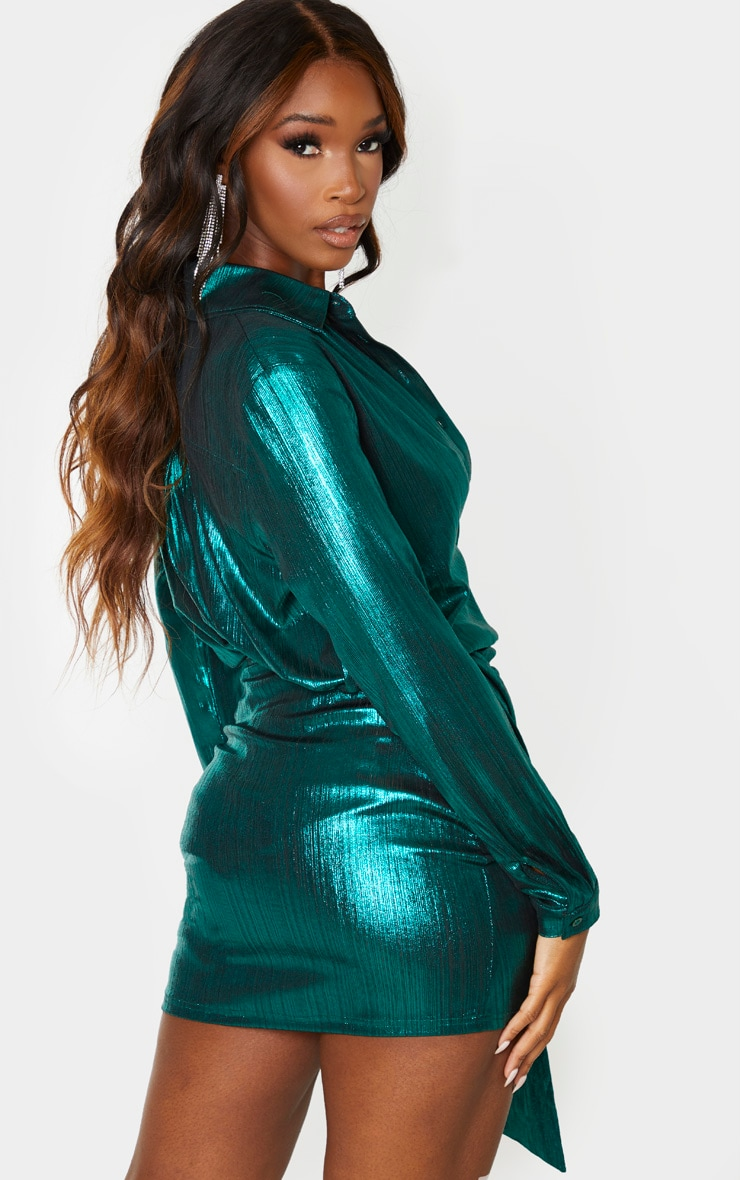 Green Metallic Button Front Shirt 2