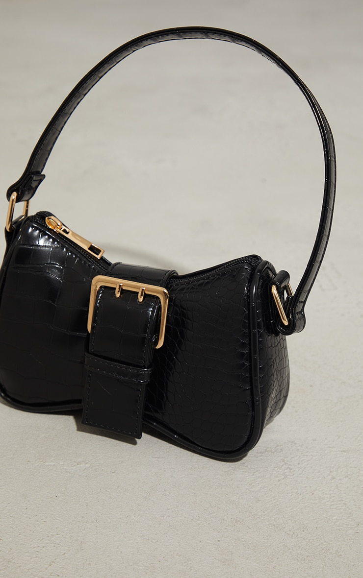 Black Croc Buckle Mini Shoulder Bag 2