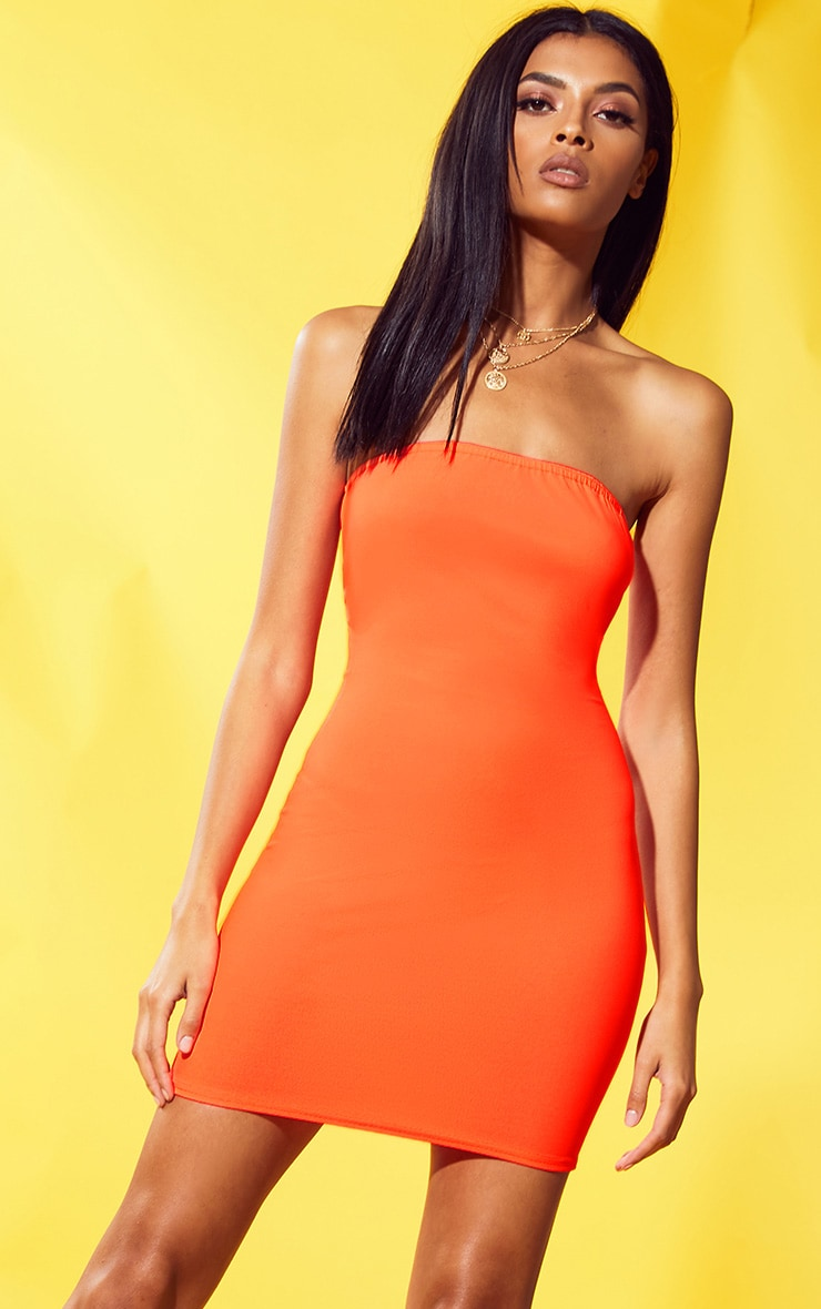 Neon Orange Crepe Bandeau Bodycon Dress
