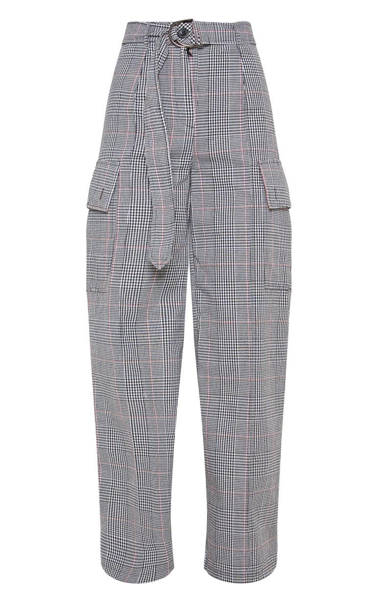 Grey Check D Ring Pocket Wide Leg Pants  3