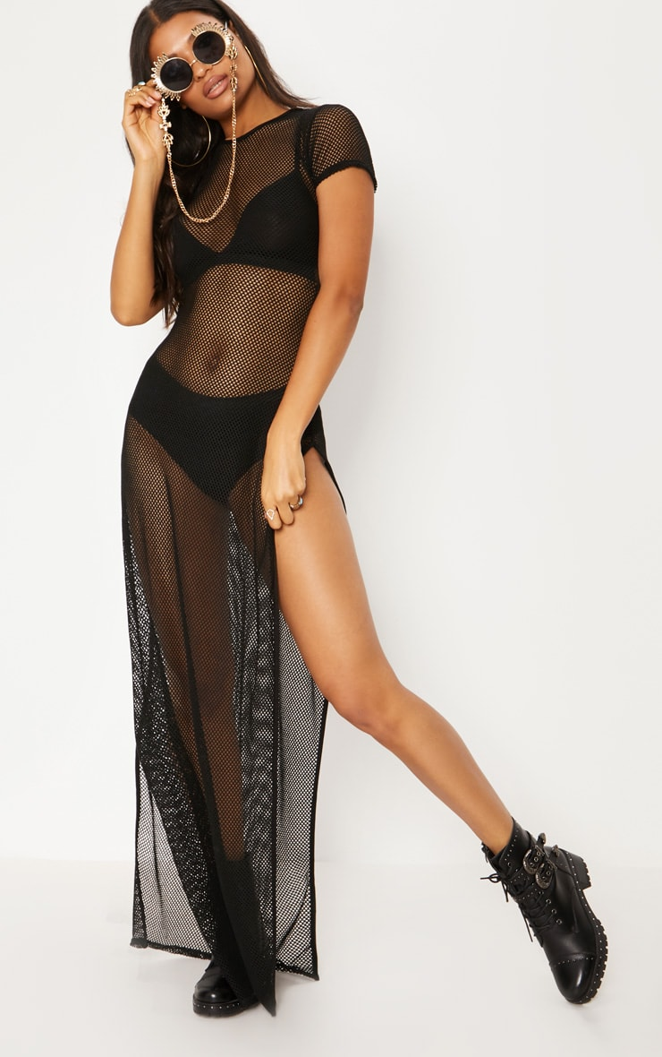 Black Fishnet Extreme Split Maxi Dress 1