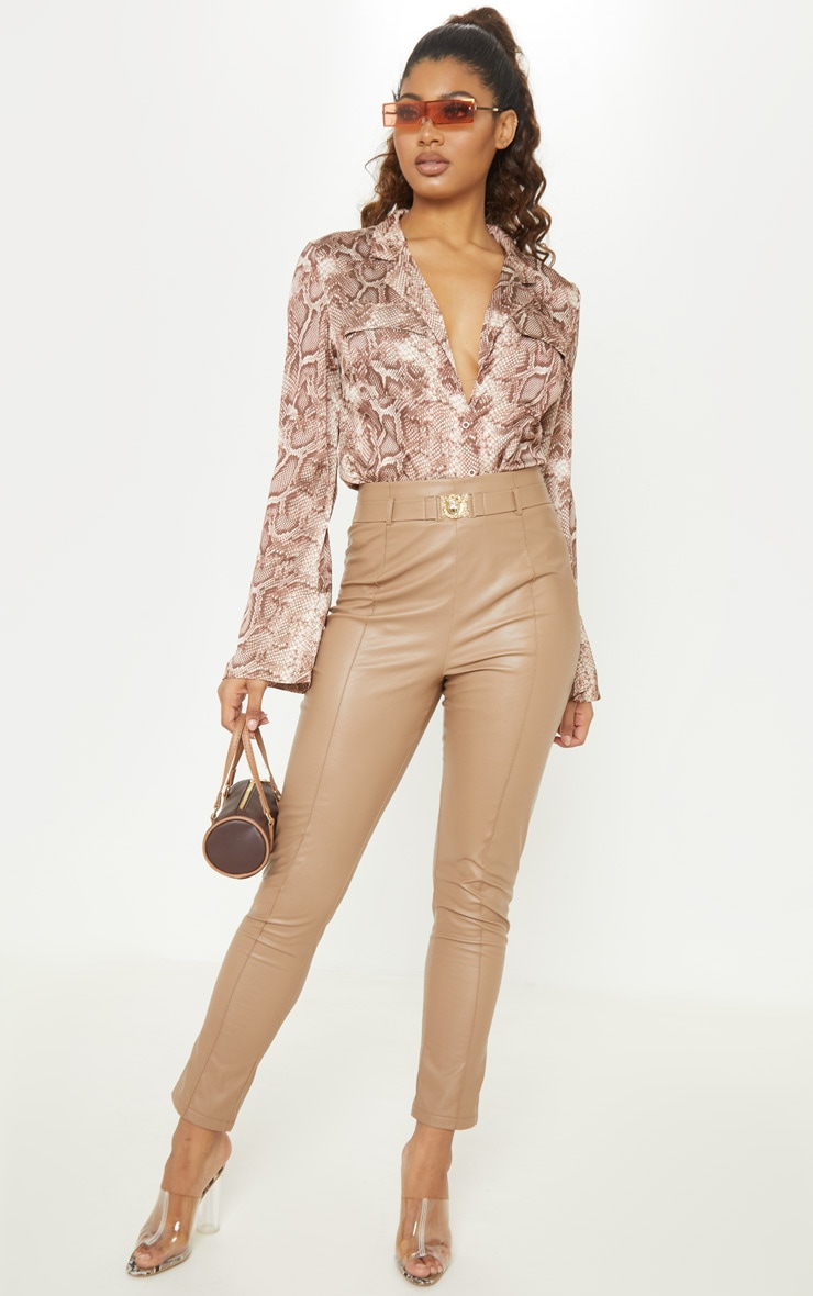 Tall Brown Satin Snake Print Pocket Detail Shirt 4