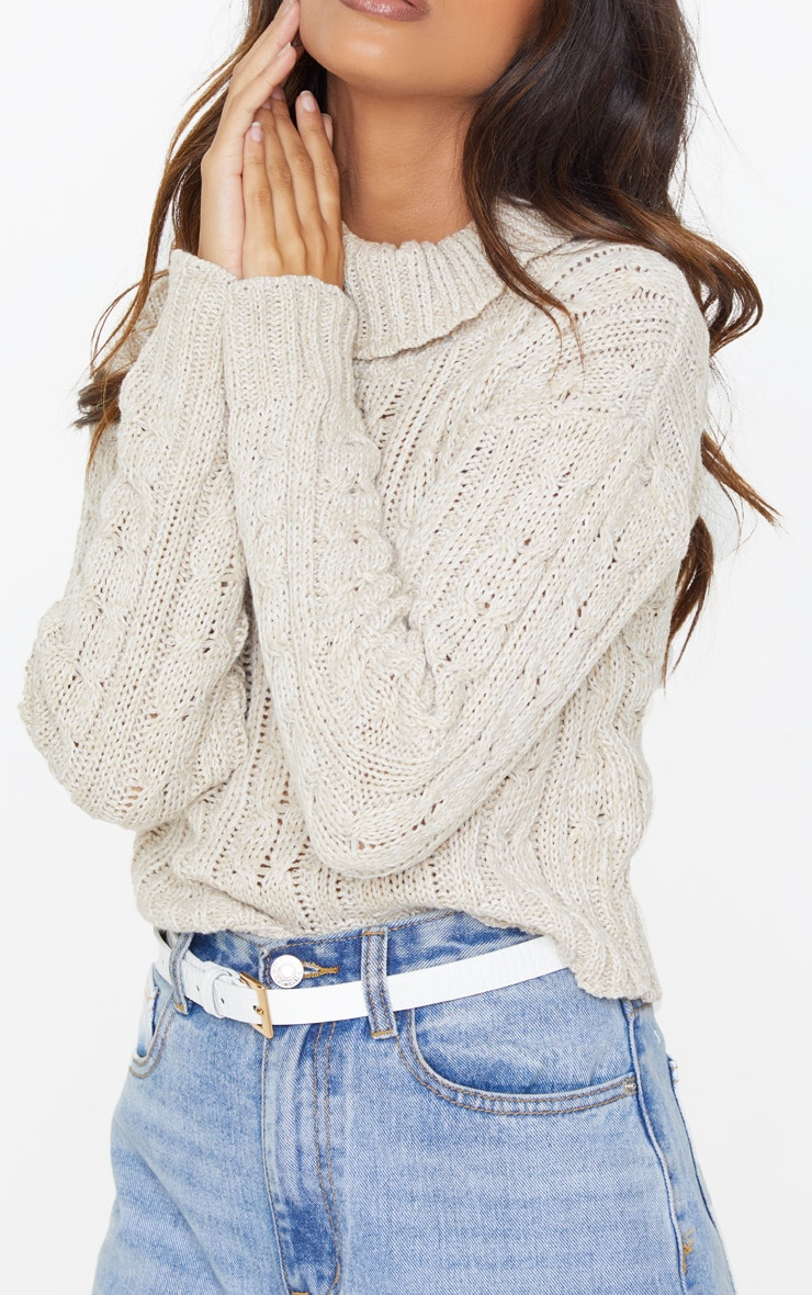 Oatmeal All Over Cable Knit Roll Neck Crop Jumper 5