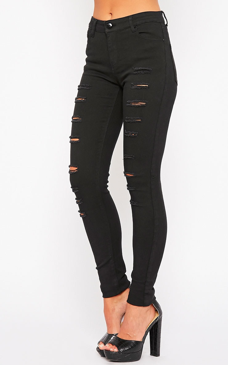 Caisley Black High Waisted Multi Rip Jeans 3