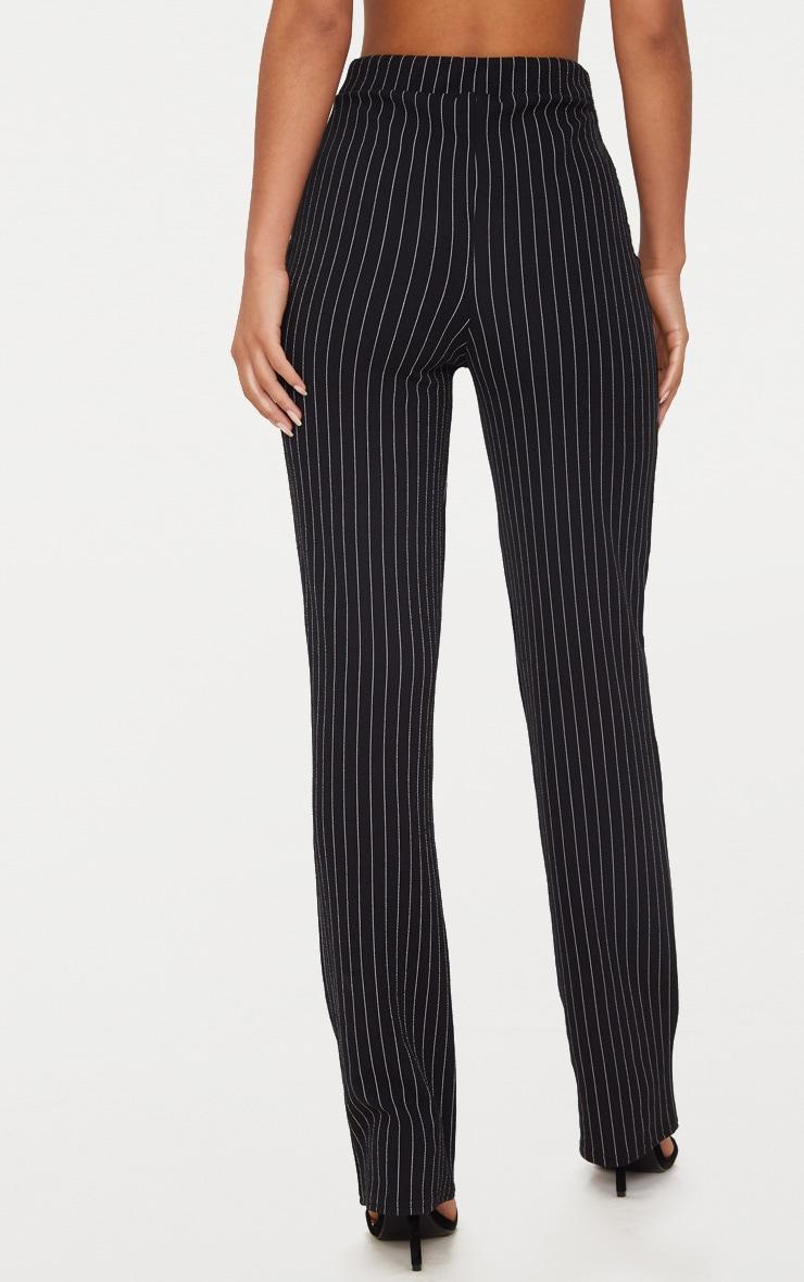Pantalon noir coupe droite à rayures fines 4