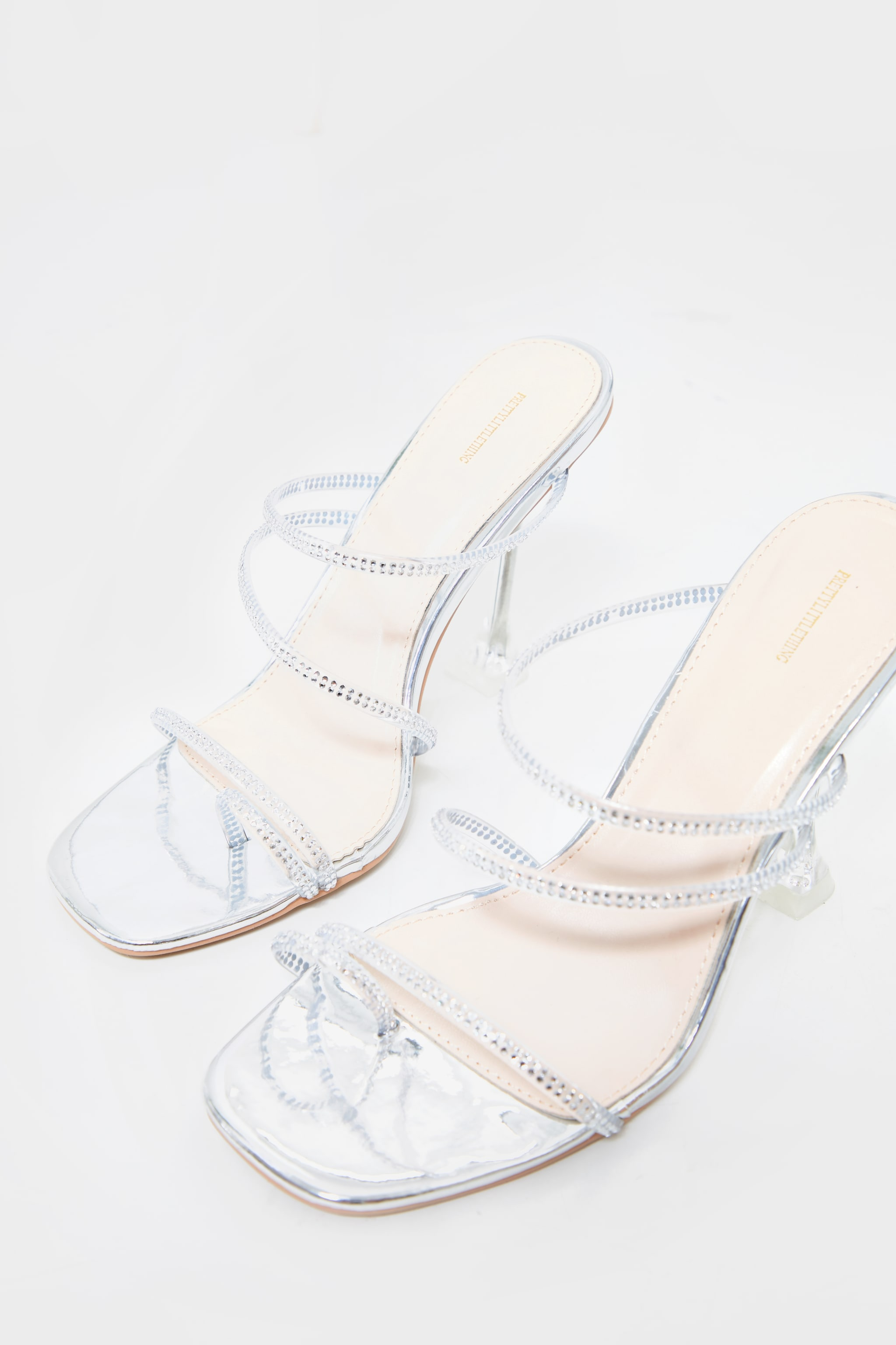 Silver Wide Fit Clear Cake Stand Heel Diamante Hot Fix Strappy Mules 3