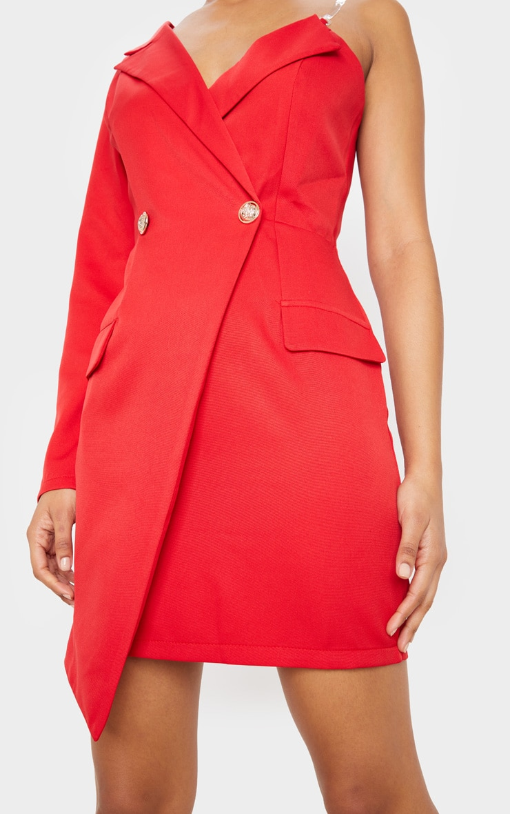 Red Asymmetric One Shoulder Blazer Dress 5