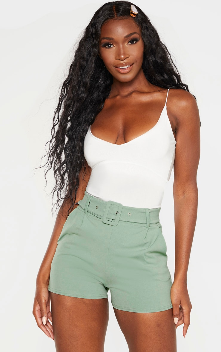 Sage Green Belted Tailored Short  1