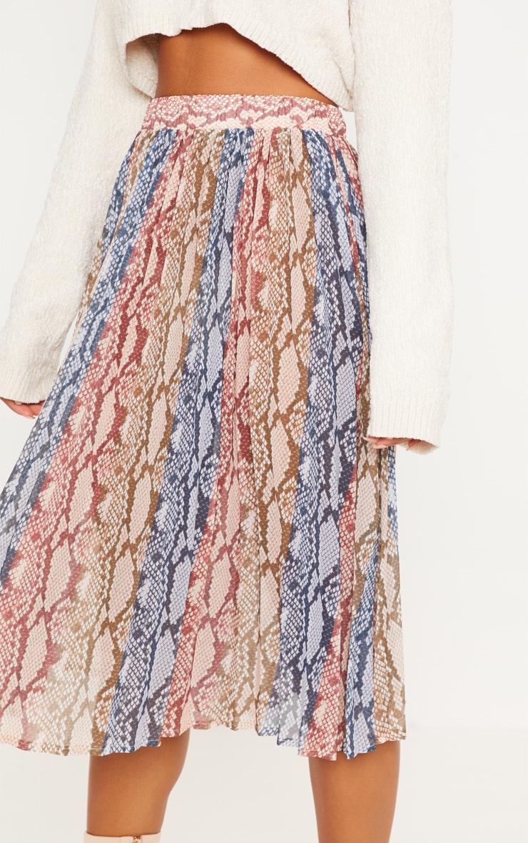 Snake Printed Pleated Midi Skirt 5