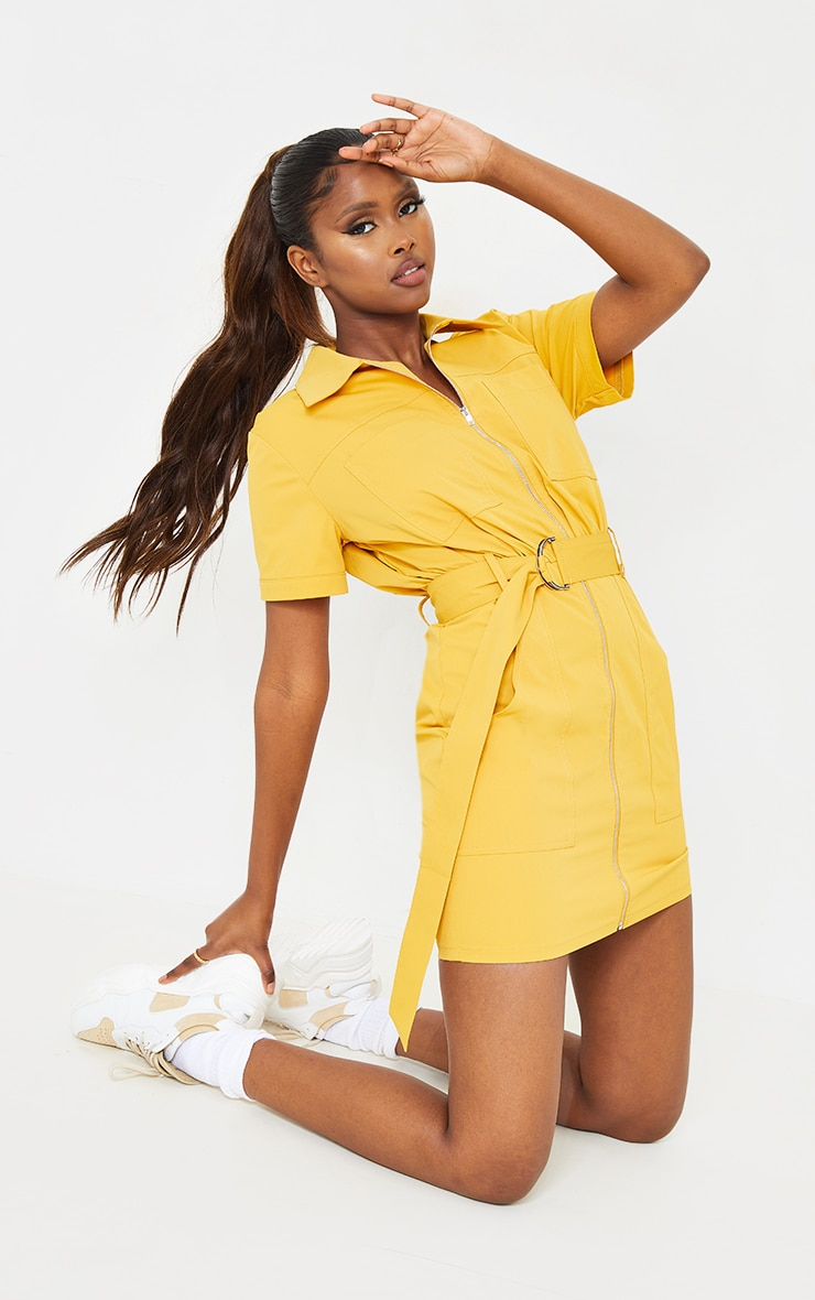 Mustard Woven Zip Through Belted Utility Shirt Dress 1