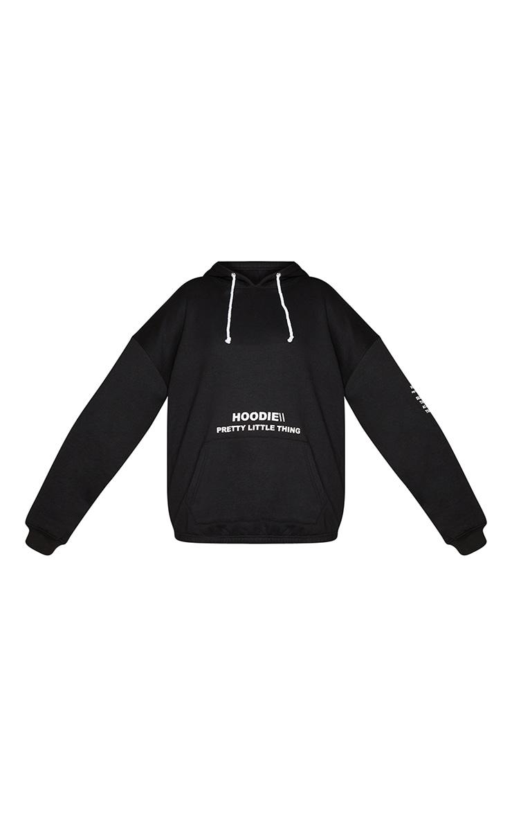 PRETTYLITTLETHING Plus Black Oversized Slogan Print Pocket Front Hoodie 5