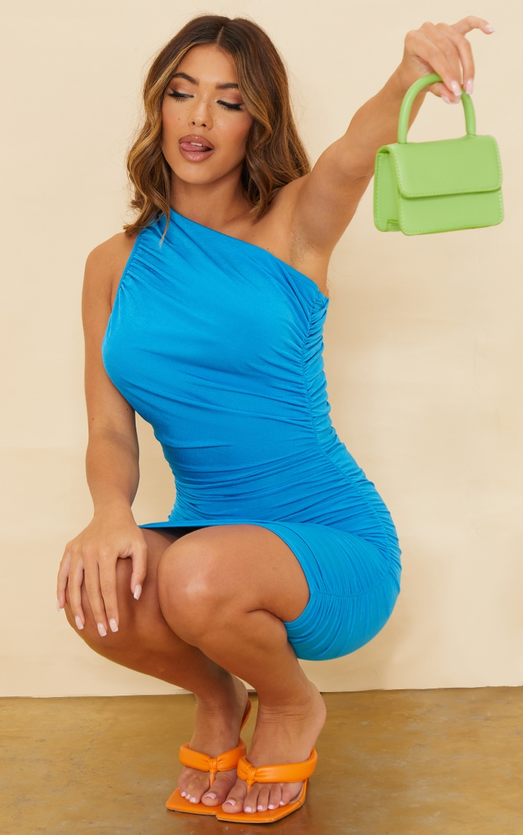 Blue Slinky Ruched One Shoulder Bodycon Dress 1