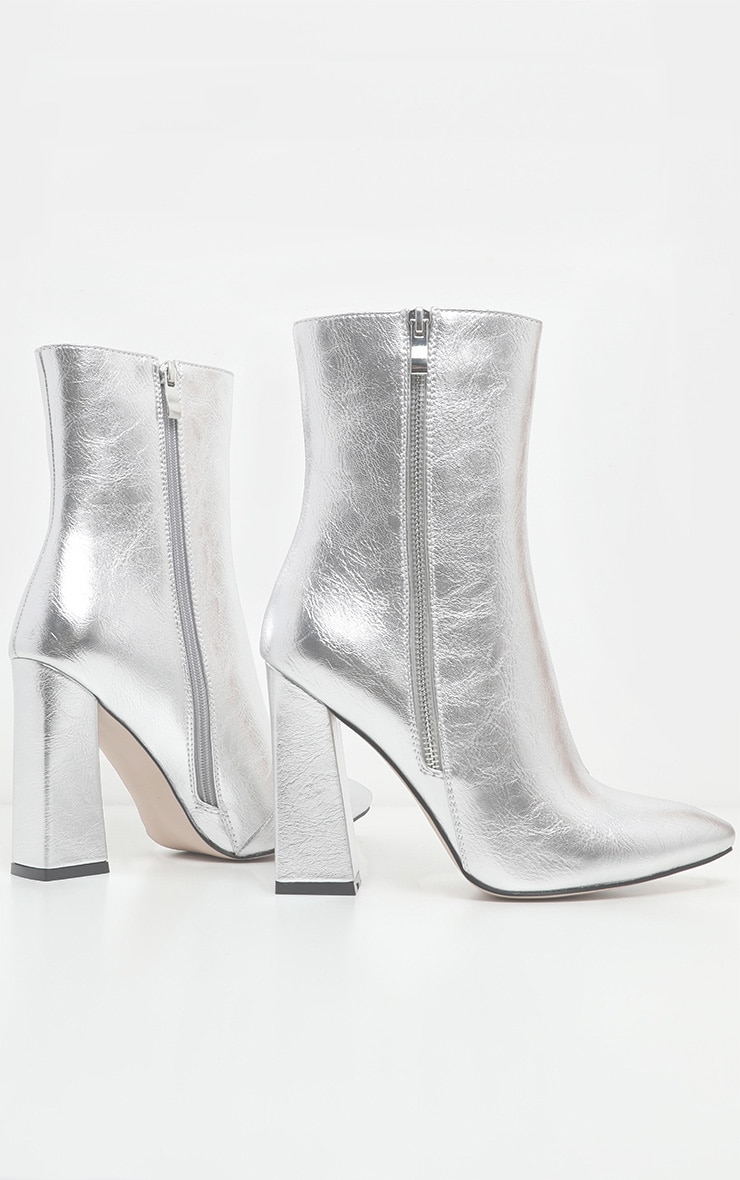 Silver Side Zip High Point Ankle Boot 3
