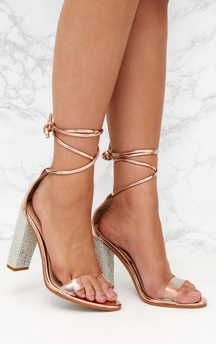 7365f71f636 Rose Gold Lace Up Diamante Heels