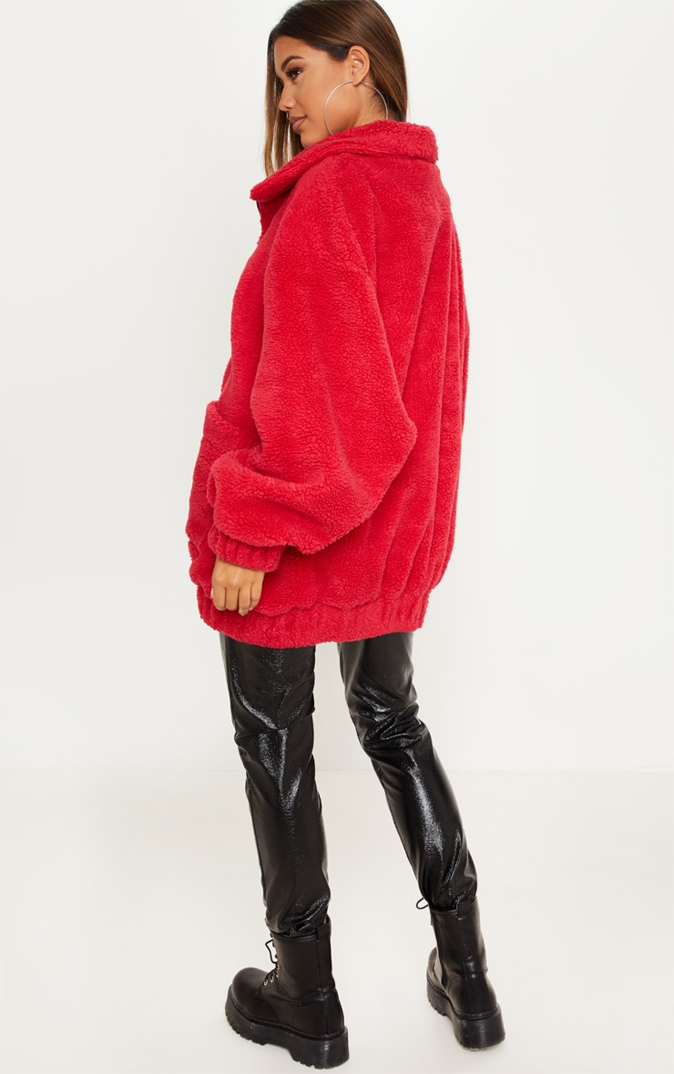 Red Oversized Borg Pocket Front Coat  2