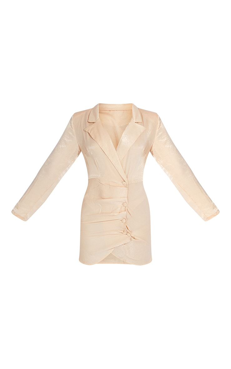 Champagne Satin Button Draped Blazer Dress 5