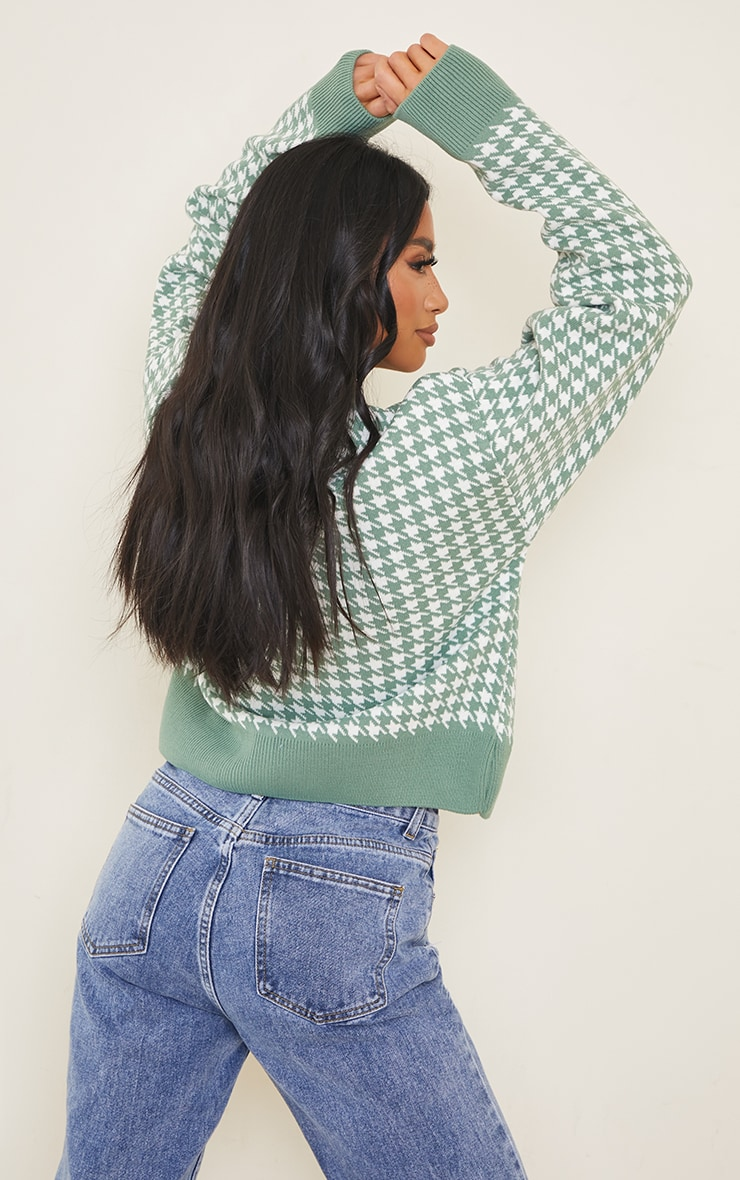 Petite Green Check Oversized Cardigan 2