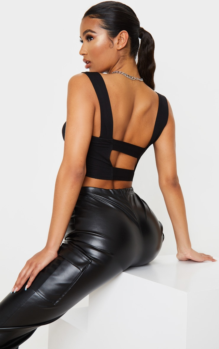 Black Jersey Strappy Cut Out Crop Top 1
