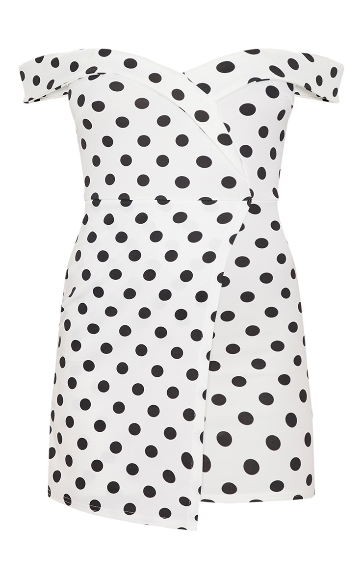 White Polkadot Bardot Bodycon Dress 3
