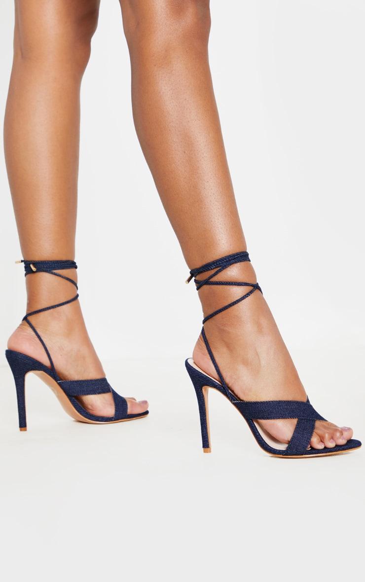 Sandales en jean foncé à brides croisées montantes 2