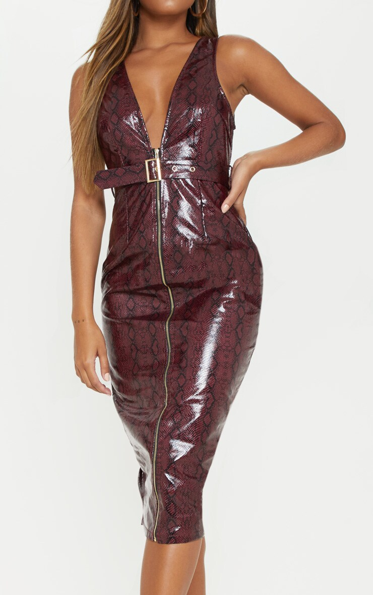 Burgundy Patent Snake Faux Leather Plunge Midi Dress 5