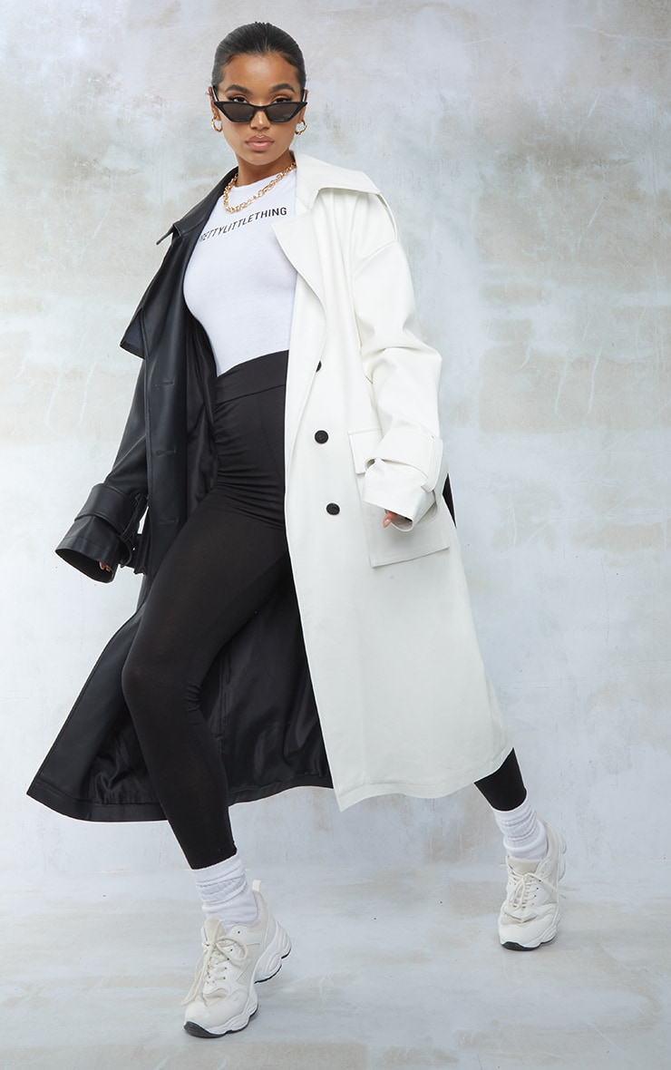 Black Faux Leather Two Tone Pocket Trench Coat 1