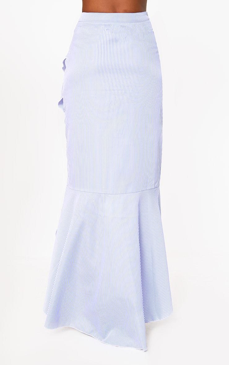 Blue Pinstripe Hi Lo Hem Ruffle Maxi Skirt 4