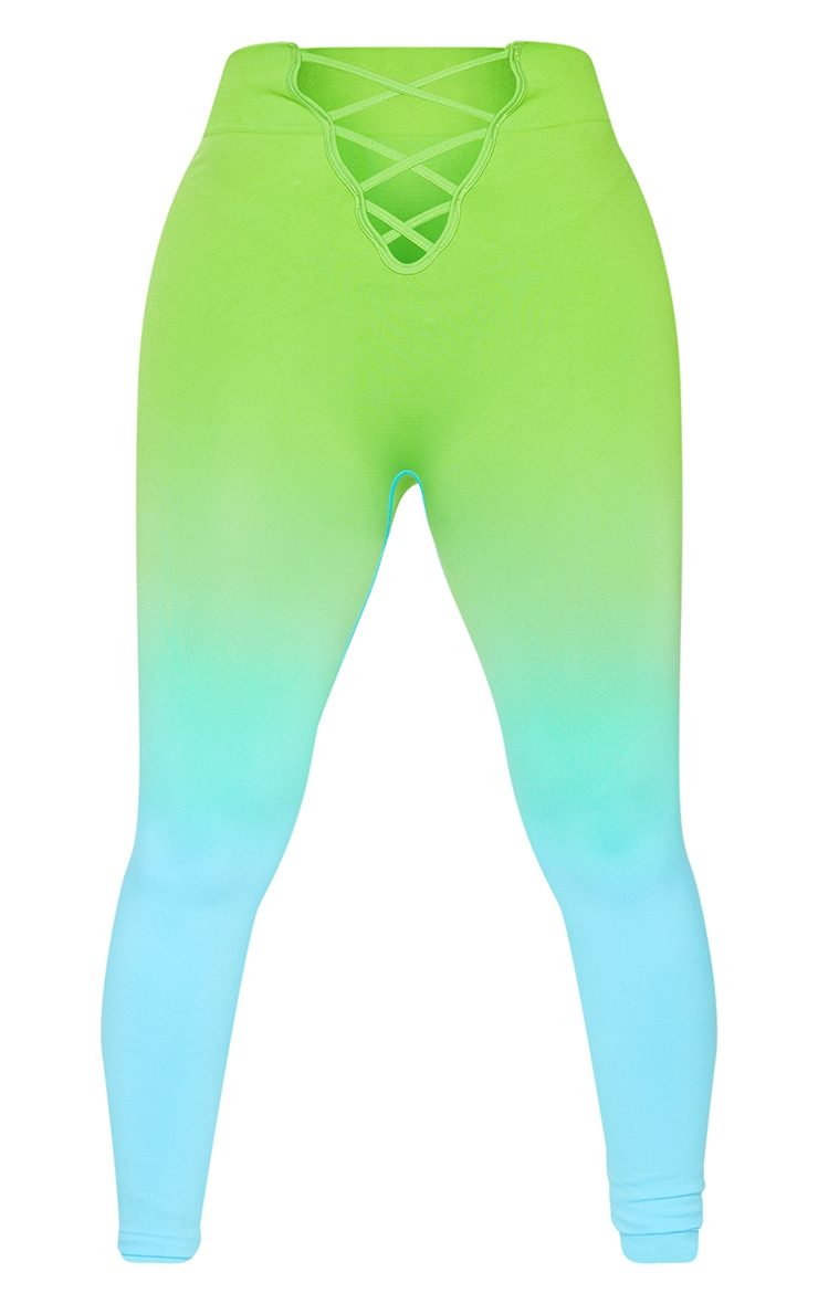PRETTYLITTLETHING Shape Blue Ombre Lace Up Gym Leggings 5