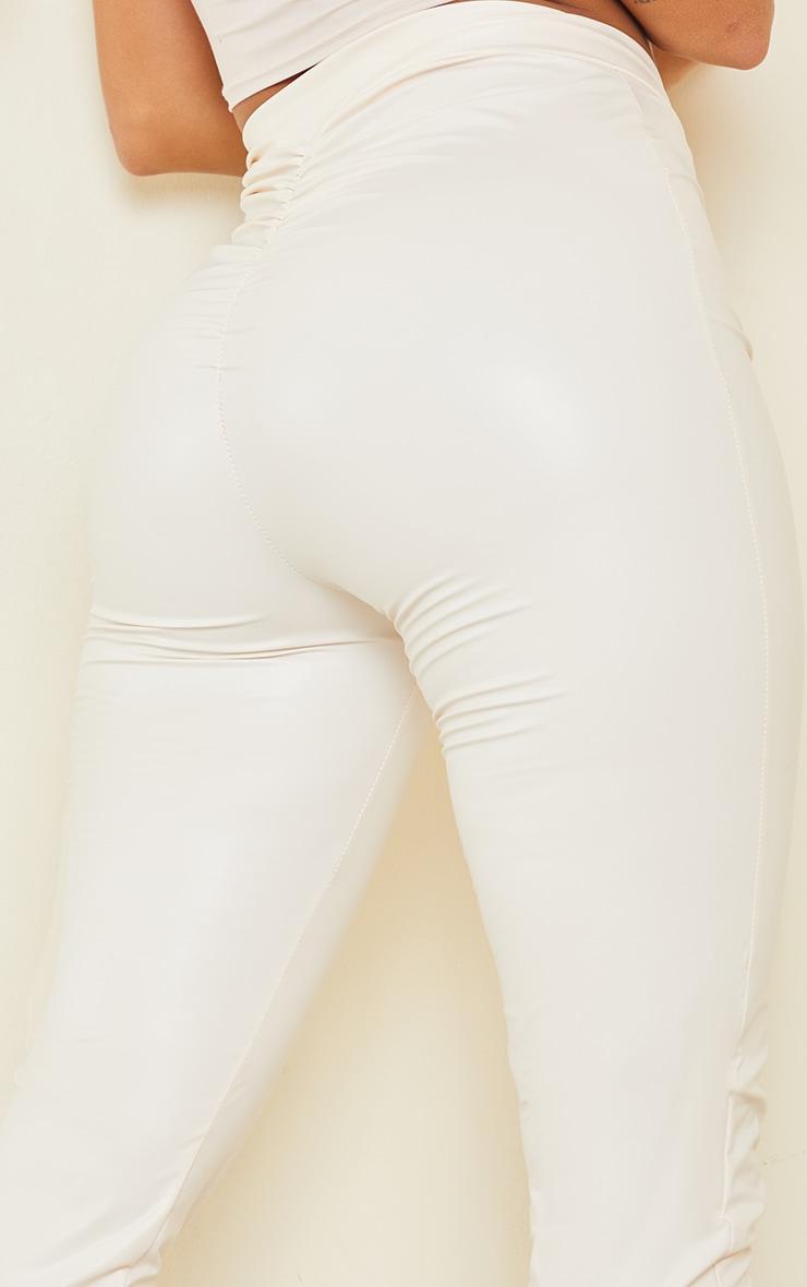 Shape Cream PU V Front Ruched Bum Split Hem Trousers 4