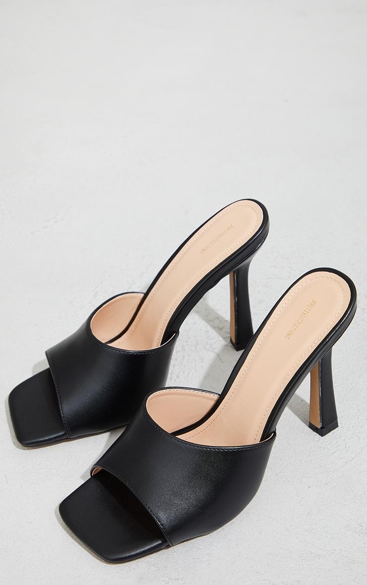 Black Wide Fit Square Toe Mule High Heels 4