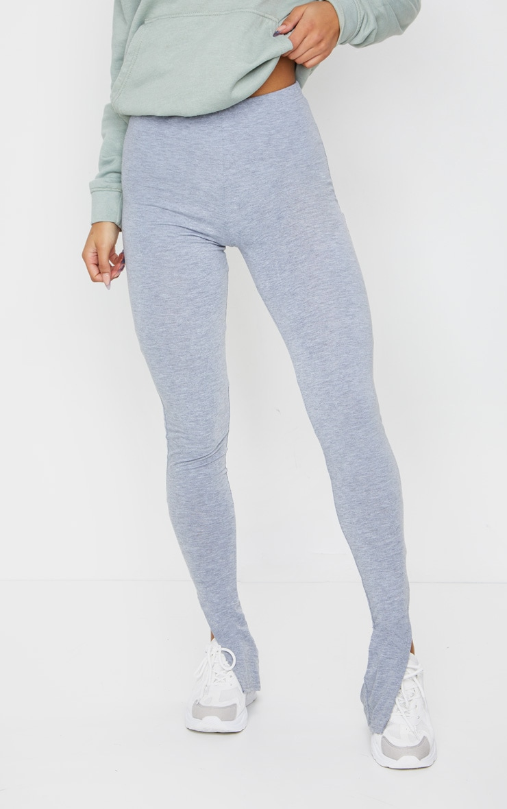 Grey Marl Basic Jersey Split Hem Leggings 2