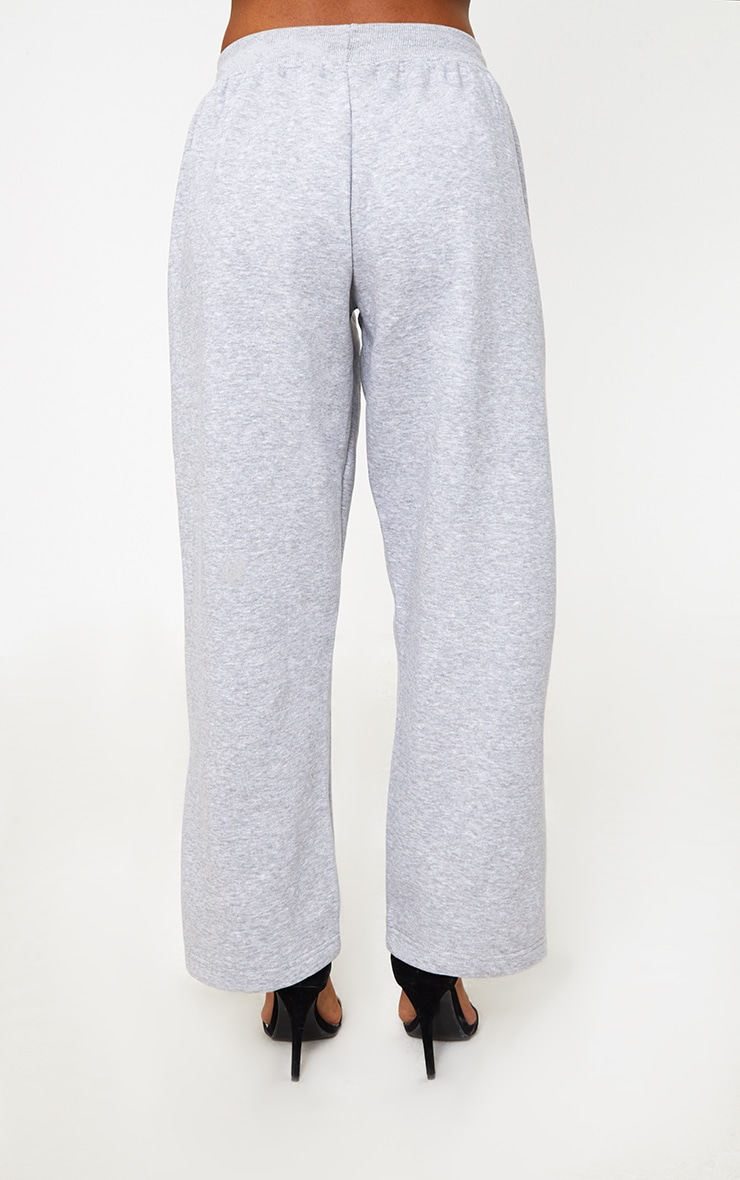 Grey Contrast Silk Stripe Wide Leg Track Pants 4