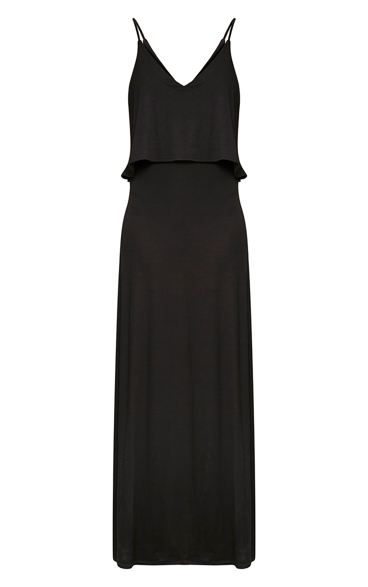 Black Jersey Double Layer Maxi Dress 3