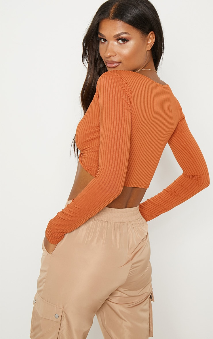 Burnt Orange Knot Front Long Sleeve Crop 2