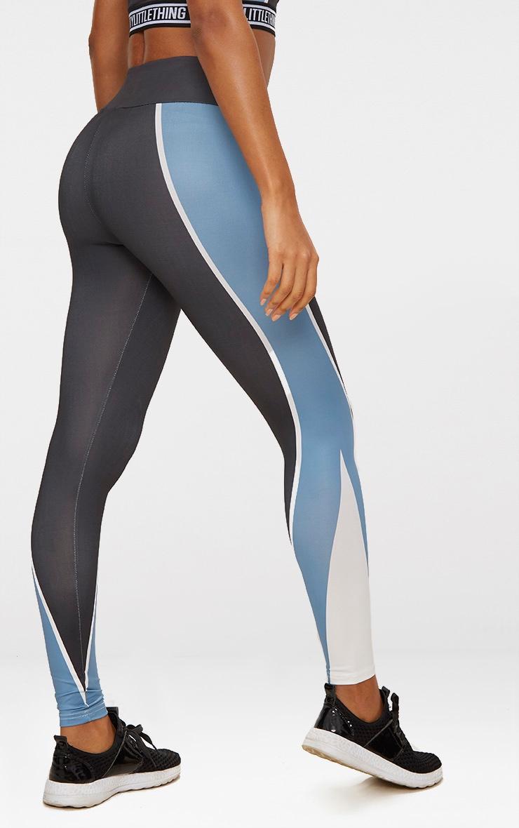 Charcoal Panelled Blue Stripe Sports Leggings  4
