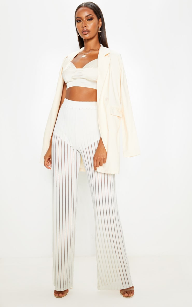 Ecru Mesh Stripe High Waisted Wide Leg Trousers 1