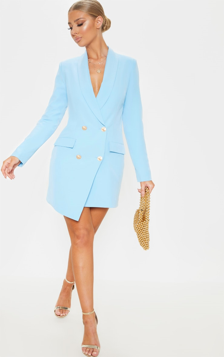 Baby Blue Gold Button Blazer Dress 4